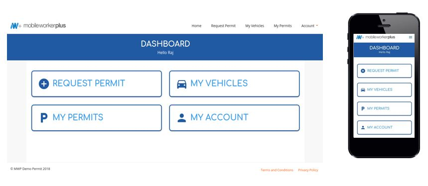 displays the user side of the permit portal dashboard